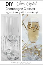 Quick and Easy DIY Rhinestone Champagne Glasses