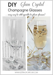 Are you throwing a party and in need of some budget friendly DIY entertaining decorations? Would you like to dress up your boring champagne glasses with fast, fun and fabulous DIY sparkle? Quick and Easy DIY Rhinestone Champagne Glasses: You won't believe how easy these DIY Glam Rhinestone Champagne Glasses are to make! Wedding Reception, wedding shower, New Years Eve Party, Anniversary Party.