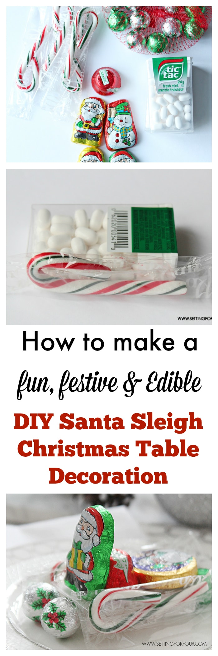 Make these fun and festive DIY Edible Santa Sleigh Christmas Table Decorations! I show you what you need to make them and all the steps! www.settingforfour.com