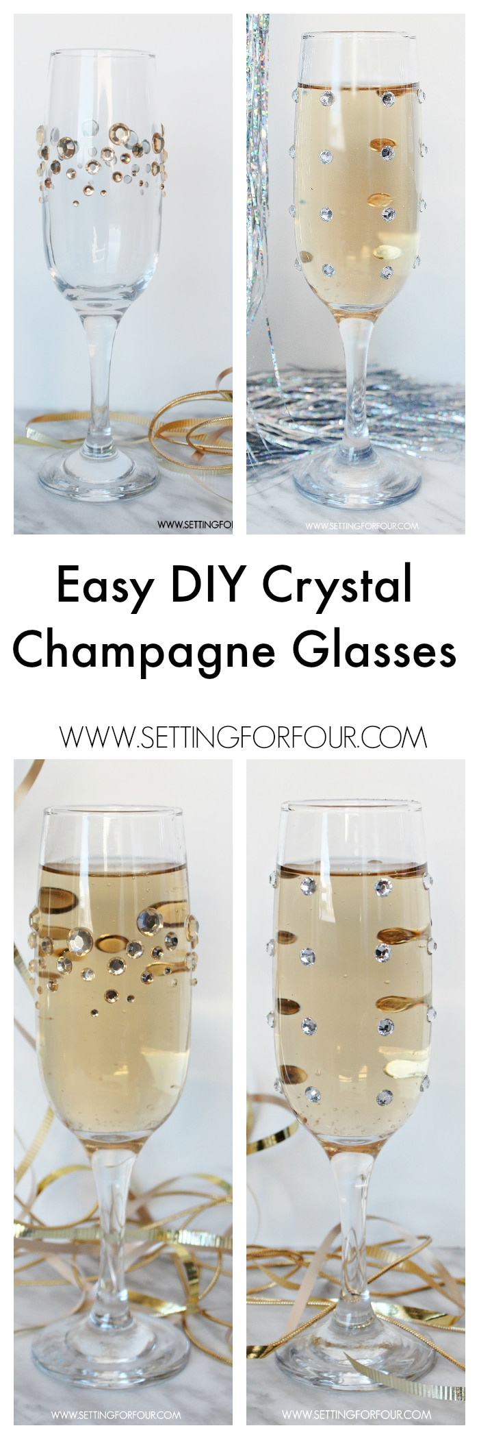Fast, Fun and Fabulous! Make beautiful, quick and easy DIY Glamorous Crystal Rhinestone Champagne glasses for your next party! Dress up plain glasses with some pretty sparkle and shine. You won't believe how fun and easy this tutorial is!