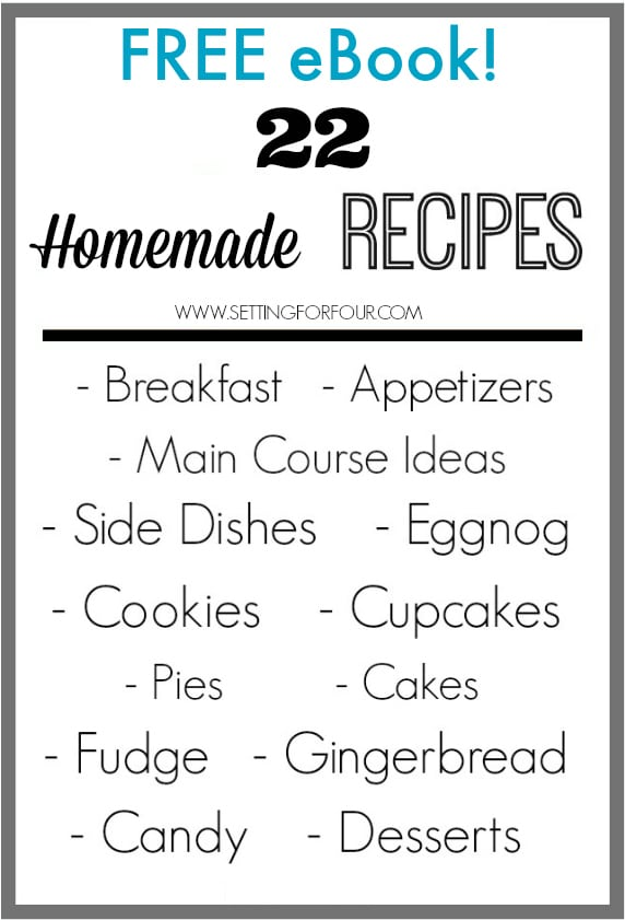 FREE Recipe Ebook filled with 22 Homemade Recipes including breakfast, snacks, lunch and dinner ideas!