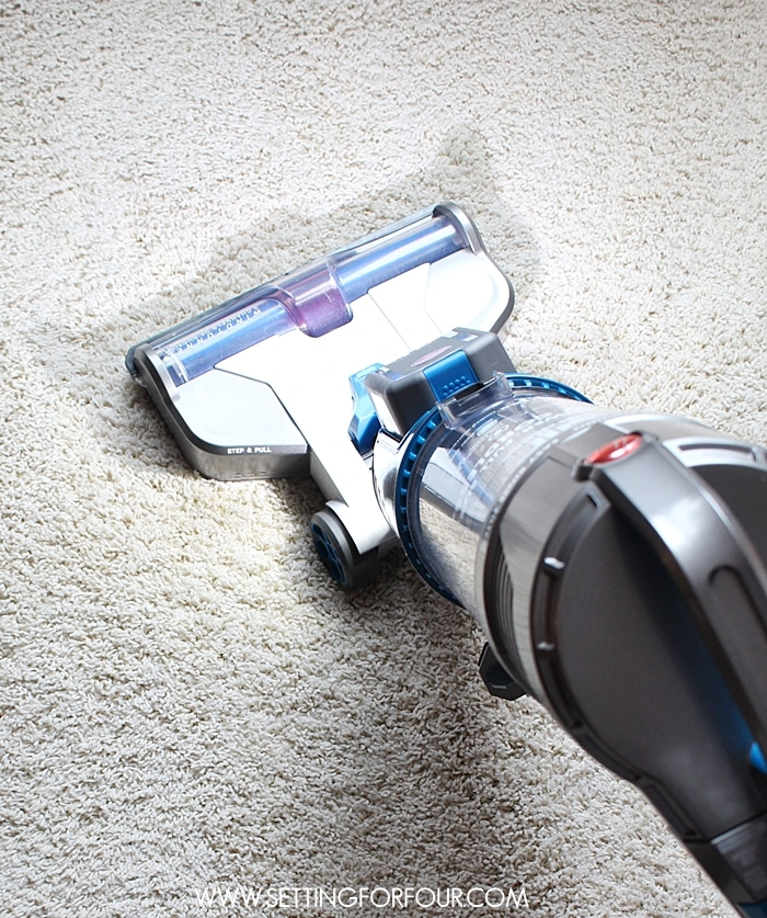 Looking for a new vacuum cleaner? This one has no cord - so convenient!! See how this Hoover Air Cordless vacuum cleaner can #RethinkCleaning! #CutTheCord www.settingforfour.com