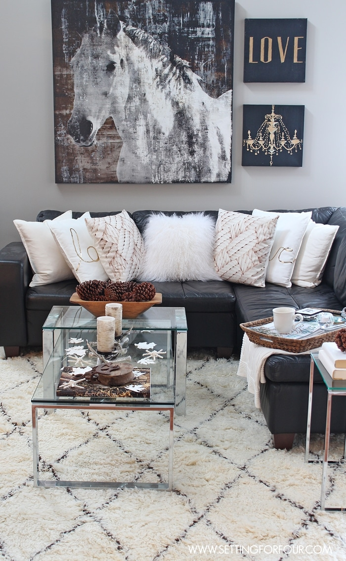 Rustic glam living room new rug setting for four for Sitting room accessories