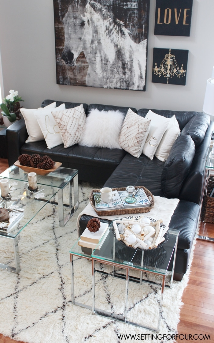 Rustic Glam Living Room + New Rug - Setting for Four