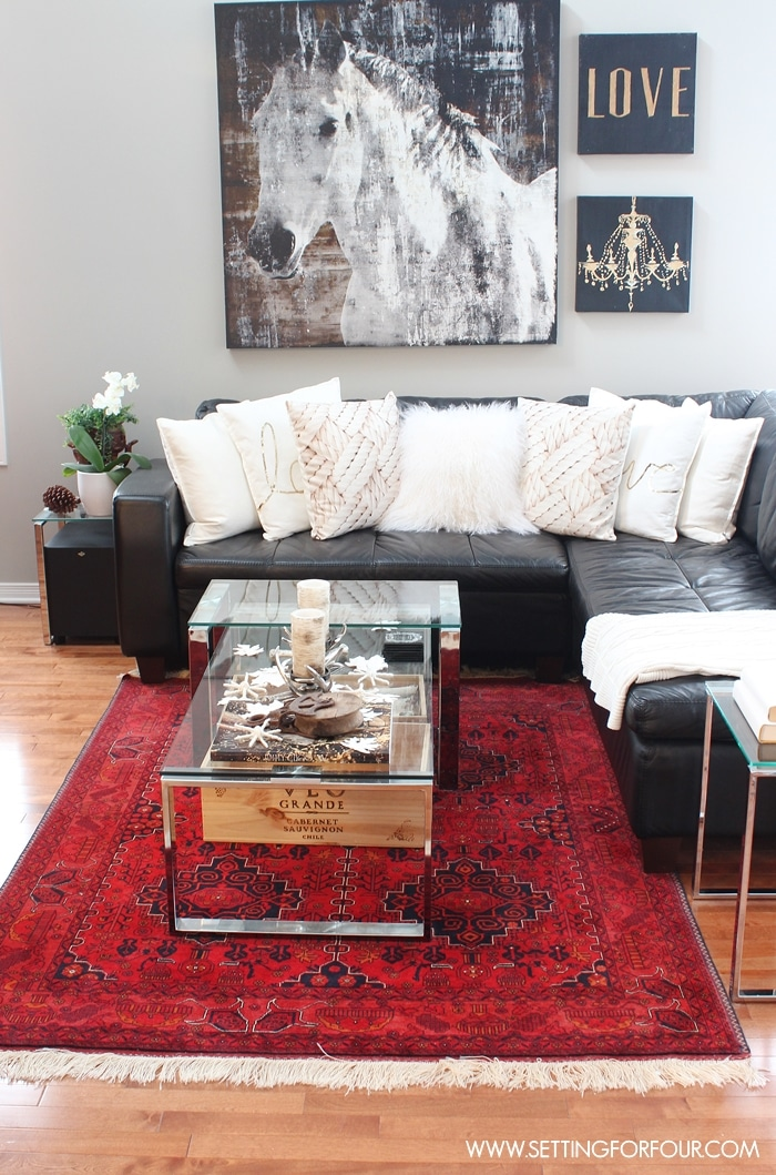 Rustic glam living room new rug setting for four - Decorating with area rugs ...