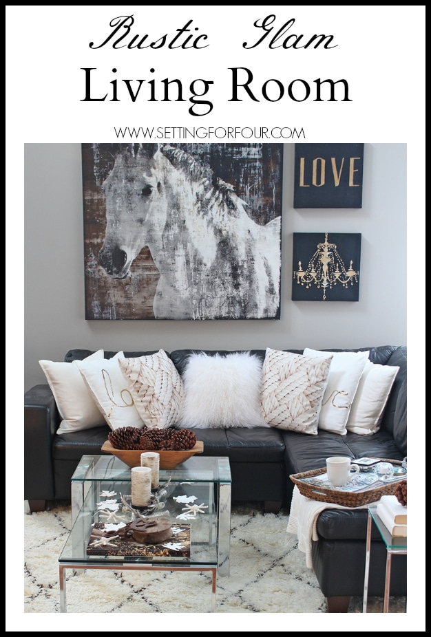 Rustic Glam Living Room rustic glam living room + new rug - setting for four