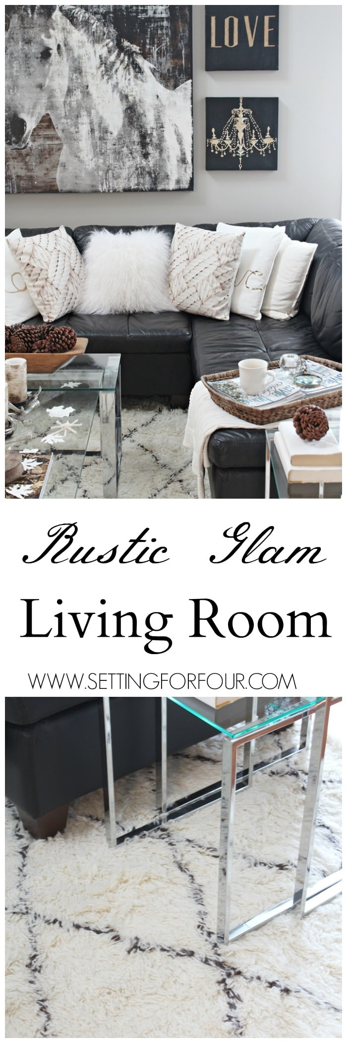 Come see my Rustic Glam living room makeover and new area rug! I'm also sharing Do's and Dont's, decor tips and tricks for choosing an area rug! www.settingforfour.com