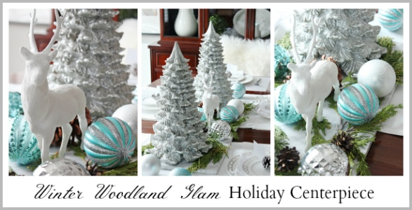 Make this beautiful Winter Woodland Glam Holiday Centepiece Decor! www.settingforfour.com