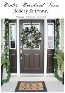 See my Christmas Entryway Decor with Winter Woodland Glam style! Front door wreath and garland decor, urns filled with greenery and birch. www.settingforfour.com