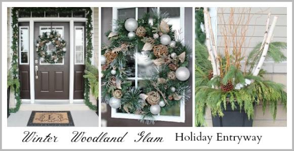 Winter Woodland Glam Holiday Entryway Decor Ideas www.settingforfour.com