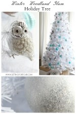 See how I decorated my Winter Woodland Glam White Christmas Tree for the holidays! Woodland animals, metallics and shine! www.settingforfour.com