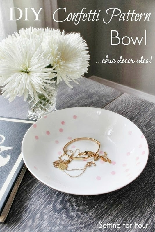 DIY Confetti Pattern Bowl - Kate Spade Knowckoff