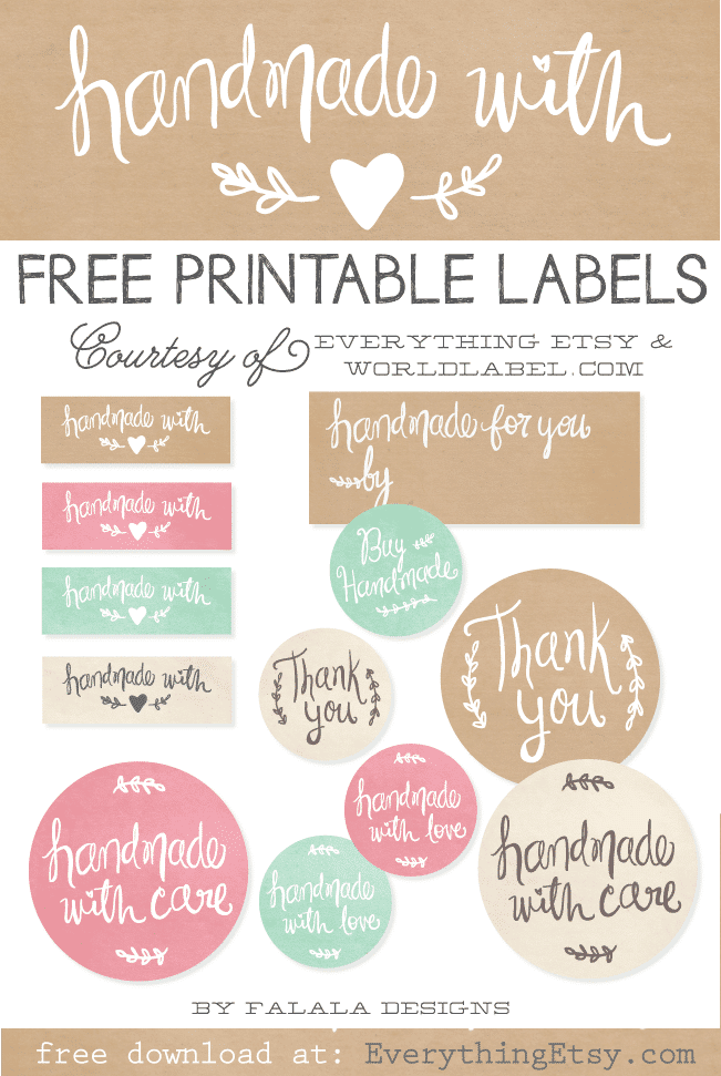 Handmade with Love Free Printable Labels to kick up your gifts and packages!