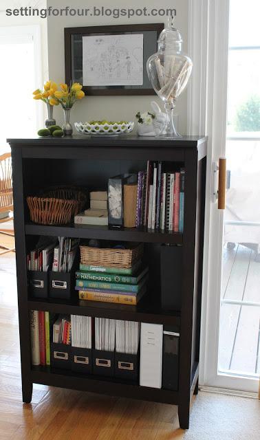 Bookcase Family Organizer www.settingforfour.com