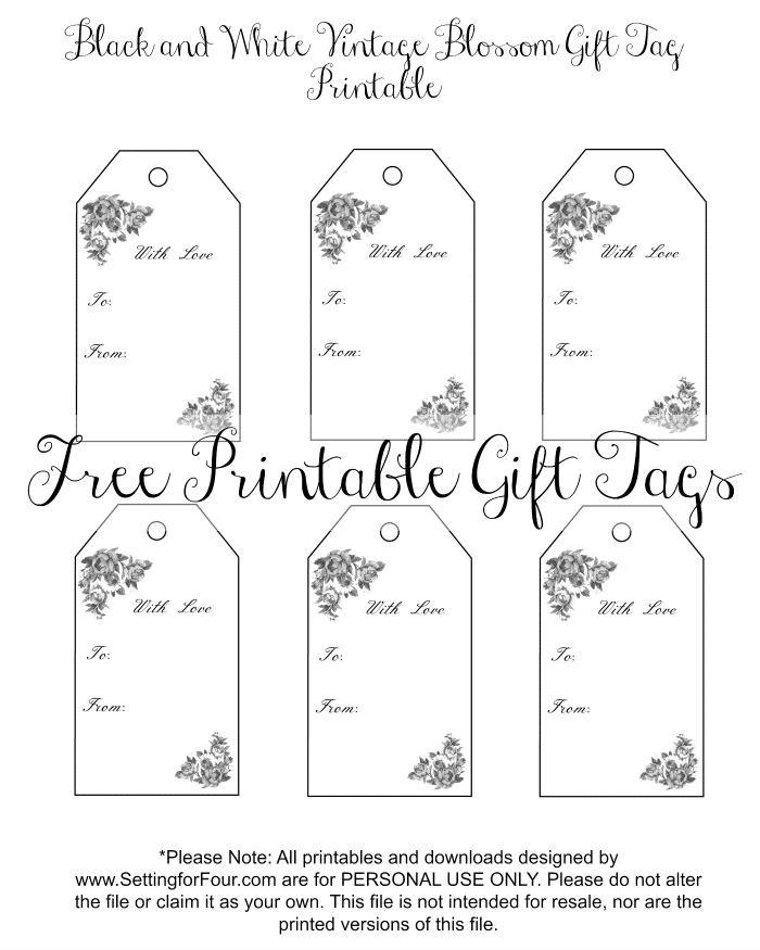 picture about Printable Christmas Tags Black and White titled Classic Blossom Free of charge Printable Present Tags - Ecosystem for 4