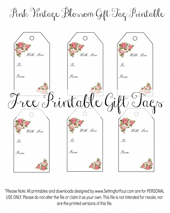 Free Floral Gift tags for birthday gifts or Valentine's Day! www.settingforfour.com
