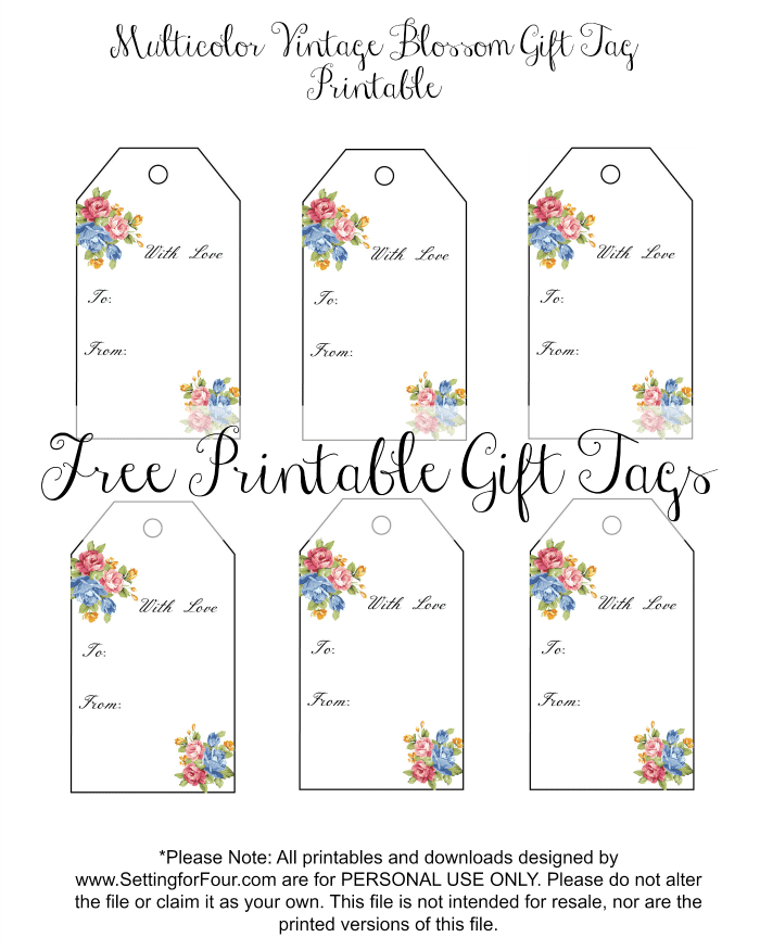 Free Floral Gift tags for birthday gifts, weddings or Valentine's Day! www.settingforfour.com