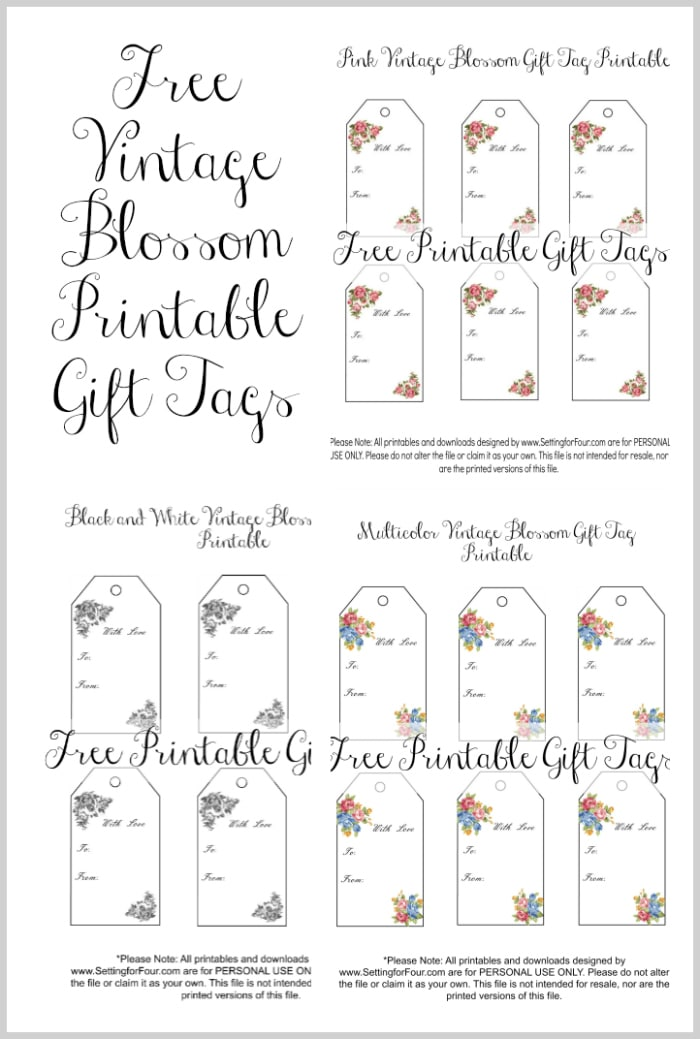 Vintage blossom free printable gift tags setting for four get your free vintage blossom printable gift tags these beautiful floral gift tags are perfect negle Choice Image