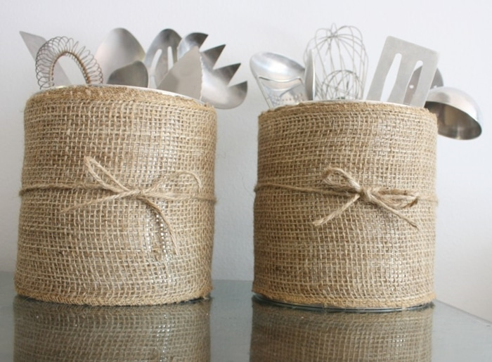 Beautiful DIY Burlap Utensil Organizers and 10 Creative and Budget Friendly Kitchen Organization and Storage Ideas to help us kick Kitchen clutter to the curb! www.settingforfour.com