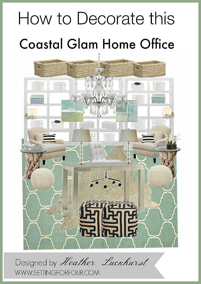 See these Inspiring DIY Home Decor Ideas and Office Mood Board Design: How to Decorate a Coastal Glam Home Office with beachy casual elegance! Sources for the bookcases, rugs, lighting, furniture and decor are included so you can copy this interior design!