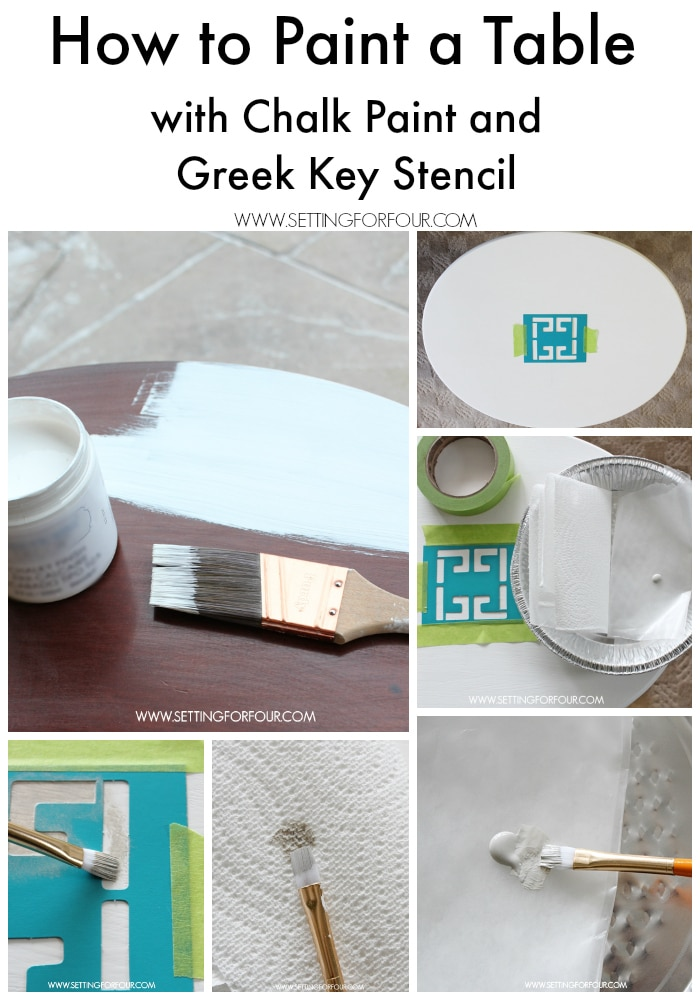 DIY Decorating idea - How to paint a table with chalk paint and add a Greek Key Stencil accent! Gorgeous! www.settingforfour.com