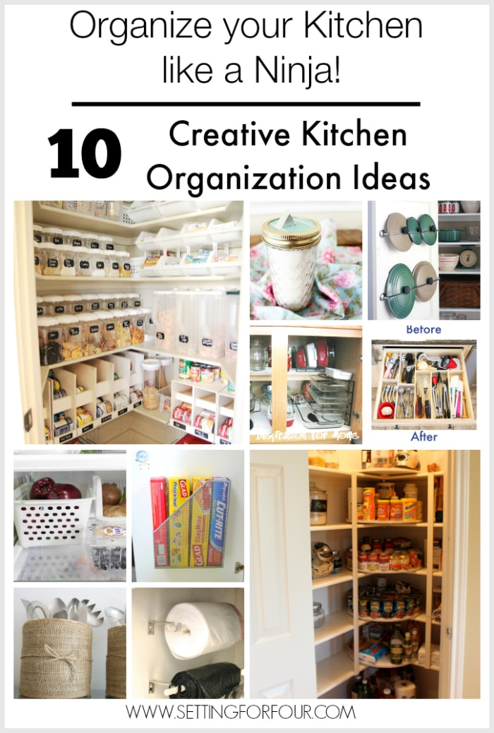10 Creative Kitchen Organization Ideas - kick kitchen clutter to the curb! www.settingforfour.com