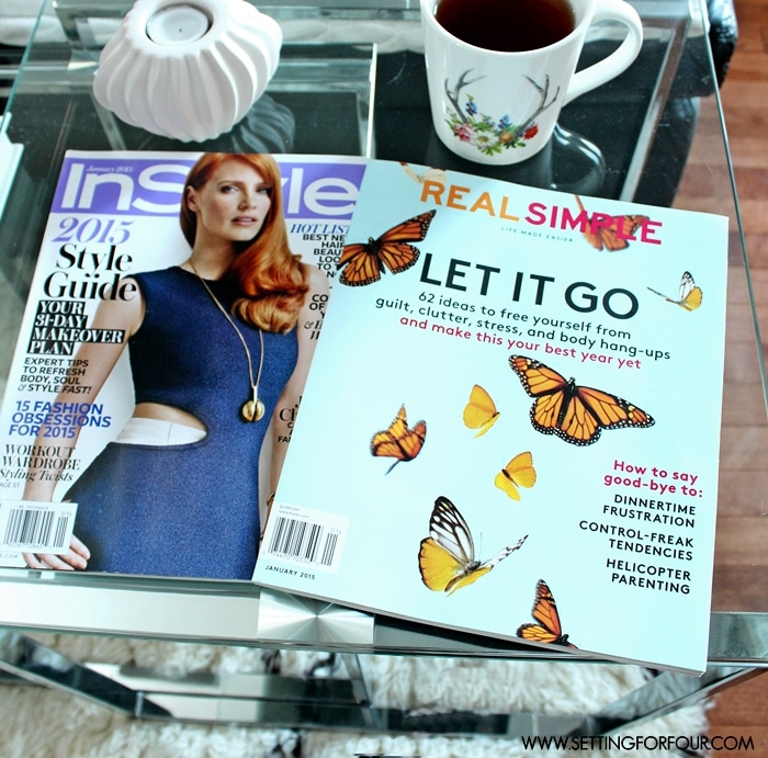 """This is how I love to relax!: My hands down favorite way to spend some """"Me Time' is to curl up in my favorite chair with a cup of tea & read some fab magazines!  www.settingforfour@gmail.com"""