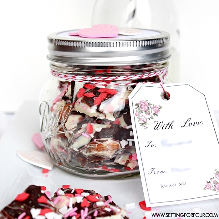 Easy to make Mason Jar Valentine gift! Chocolate Bark in a Mason Jar with FREE vintage blossom printable gift tag! www.settingforfour.com