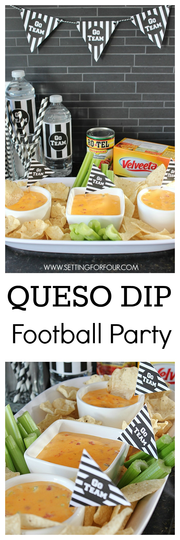Throw the perfect festive Superbowl party or Football party with this yummy, zesty Velveeta Queso Dip Recipe! Perfect appetizer snack for movie nights too. www.settingforfour.com