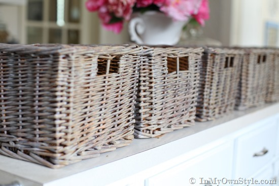 DIY Aged Driftwood Finish basket makeover. www.settingforfour.com