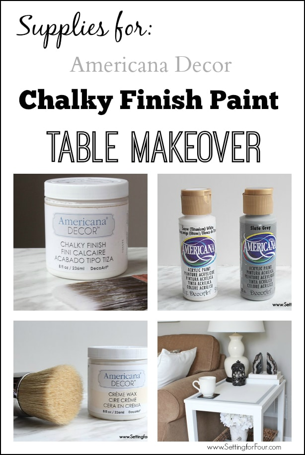 Supplies to paint a table with chalky paint.