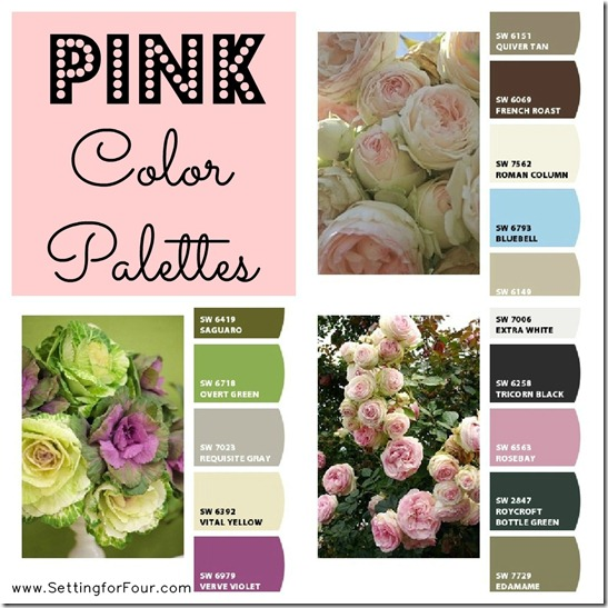 Pink Color Palettes - color palette decor ideas for a fabulous feminine touch to an office or girl's room!