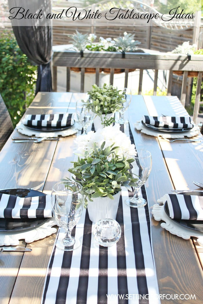 Black and White Outdoor Tablescape Decor ideas. www.settingforfour.com