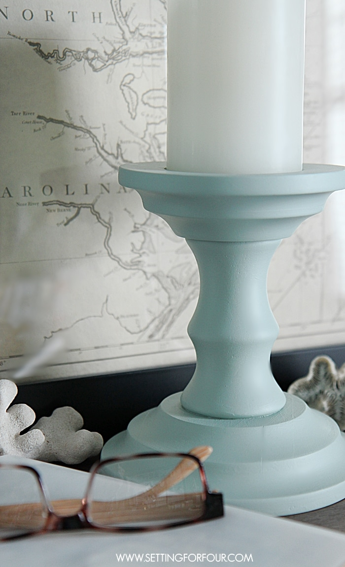 DIY thrift store candlestick makeover - see how I painted it with a mineral paint!