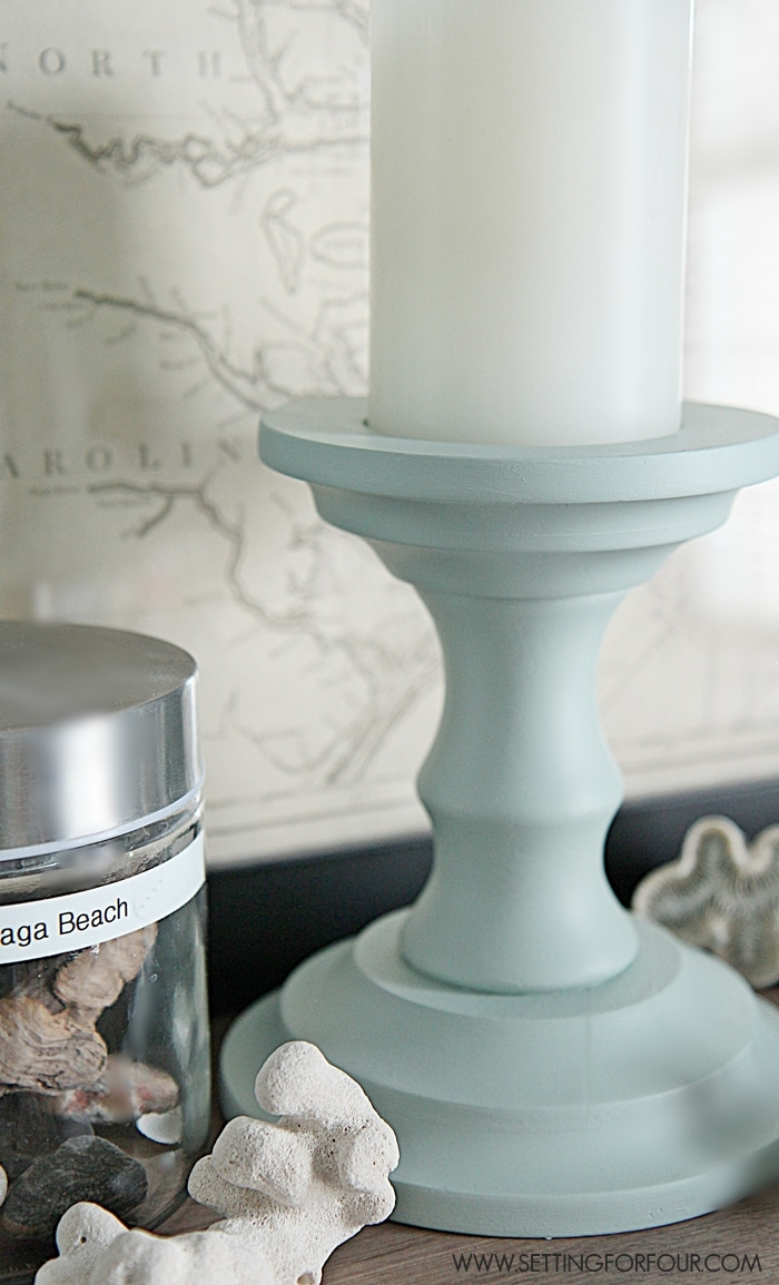 See how I turn thrift store finds into beautiful DIY home decor! Inexpensive Thrift Store painted candlesticks  - Beautiful Home Decor!