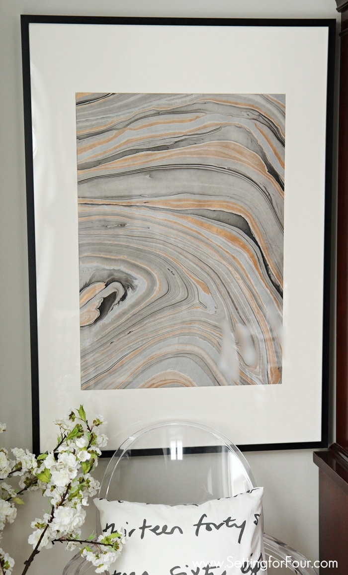 How to make this Clever DIY Wall Art Idea with a High End look and a bargain price of only $37! An Easy,Look for Less; Beautiful and Stylish DIY Decor using metallic marbled paper that actually looks like real agate stone!