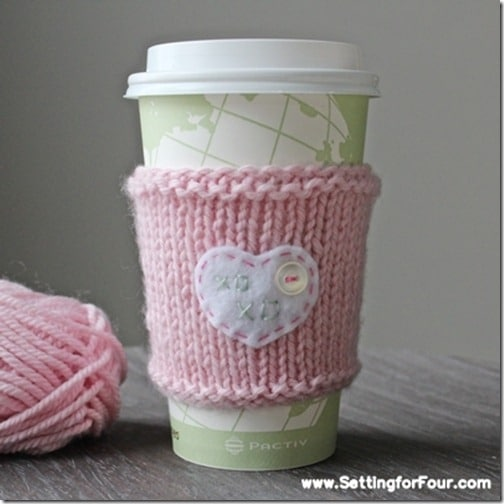 DIY Knitted Cup Cozy with xoxo message