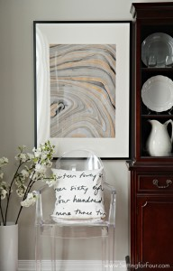 DIY Wall Art Idea using Marbled Paper