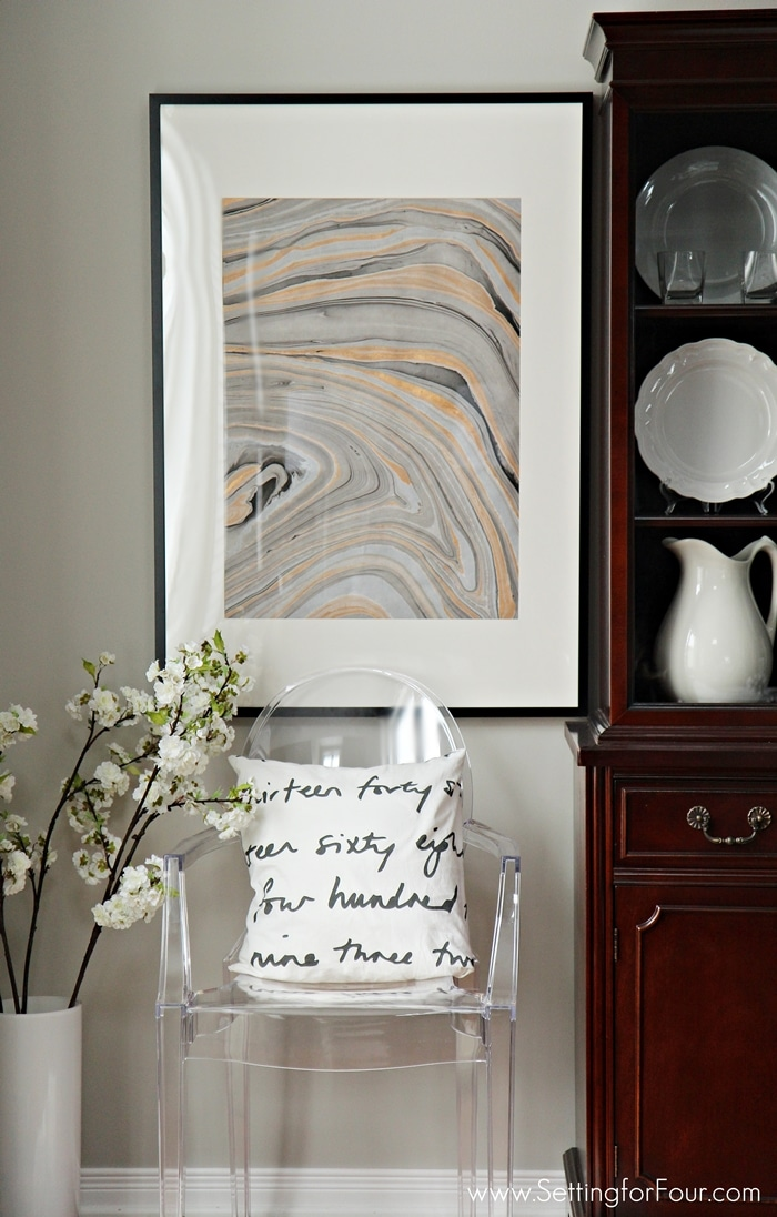 Make this Easy, Clever DIY Wall Art Idea with a High End look and a bargain price of only $37! Such a Beautiful, Stylish look! It actually looks like real agate stone!