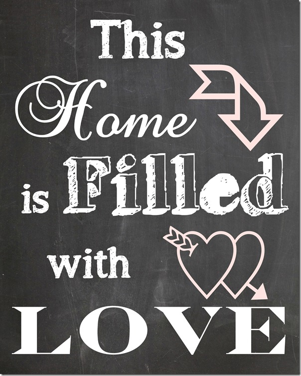 Free 'This Home is Filled with Love' Printable Art - perfect for valentine's day and a gallery wall decor idea! www.settingforfour.com