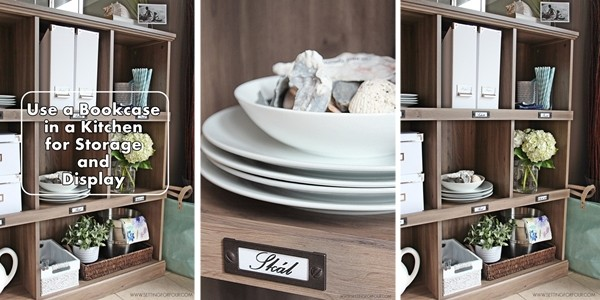 Kitchen Storage and Organization Tips using a Repurposed Bookcase!
