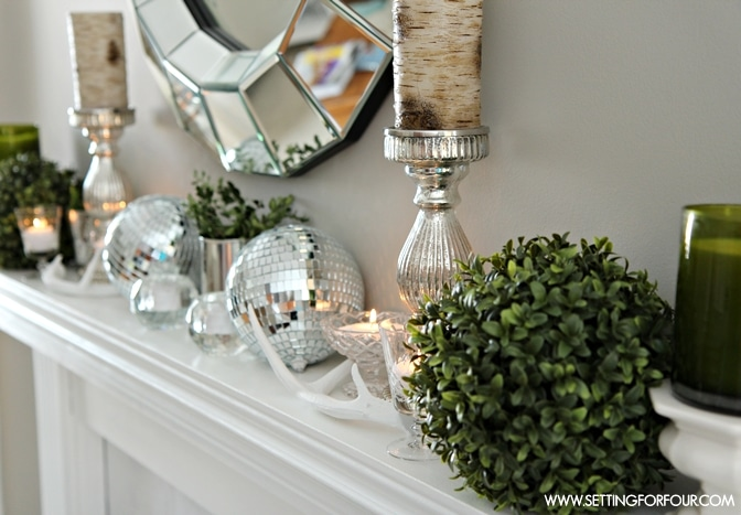 Mantel Decorating Ideas for Winter - Setting for Four