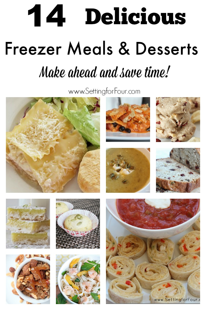 These are delicous and HUGE time savers! 14 of my favorite recipes for freezer meals, appetizers and desserts that can be made ahead, frozen and reheated for busy moms and dads! www.settingforfour.com #spon
