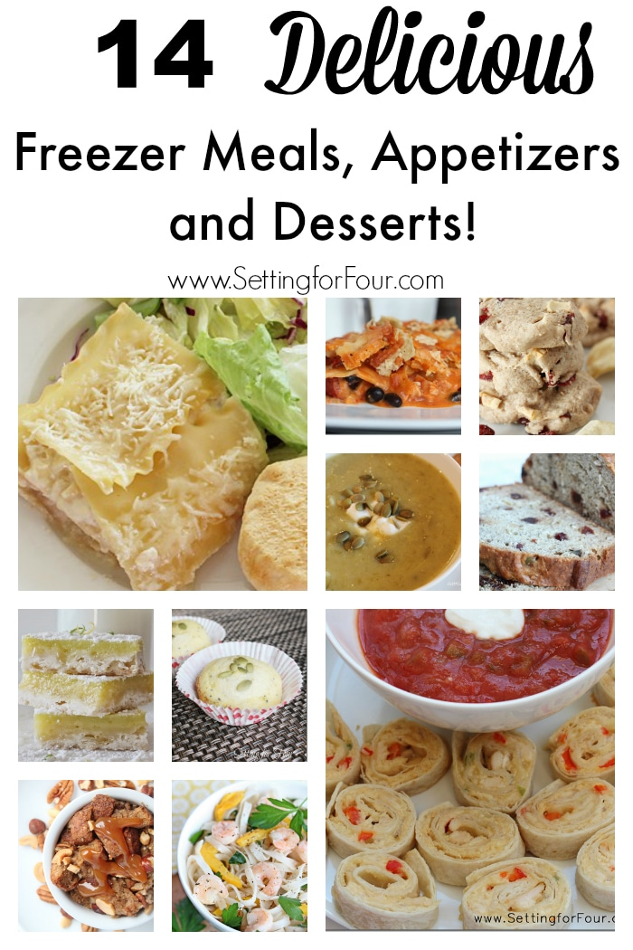These are delicous and HUGE time savers! 14 of my favorite recipes for freezer meals, appetizers and desserts that can be made ahead, frozen and reheated for busy moms and dads! #spon www.settingforfour.com