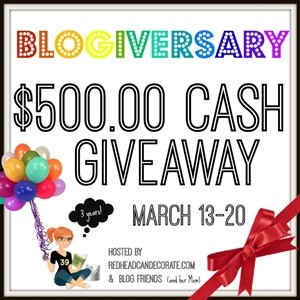 Enter to win this 500.00 Cash Giveaway!