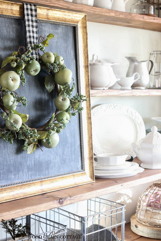 Spring Mantel with apple wreath