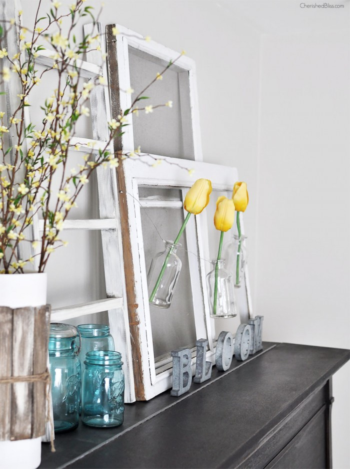 Spring Mantel with yellow tulips