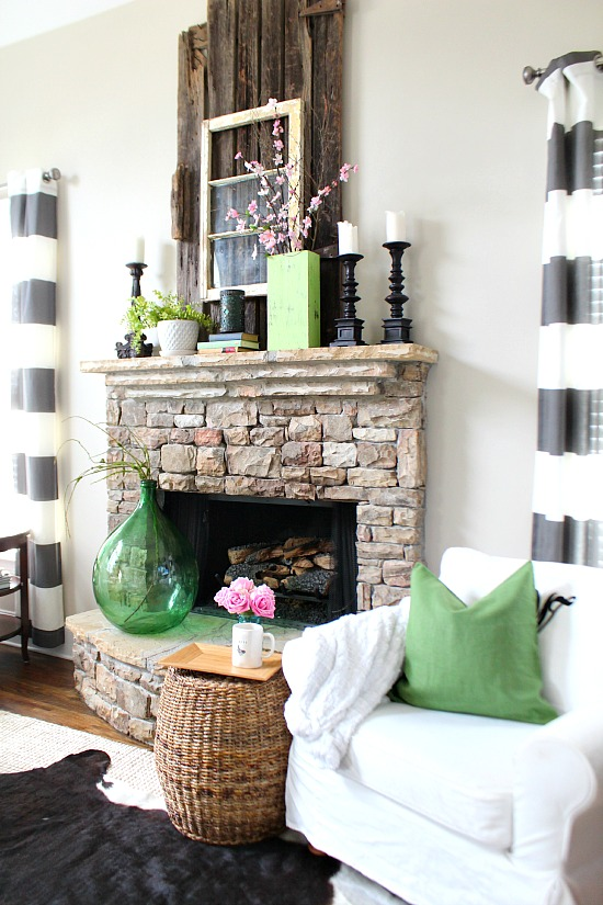Black and green Spring Mantel