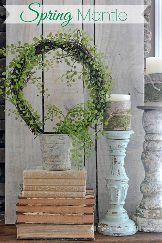 Spring Mantel with topiary, vintage books and candles