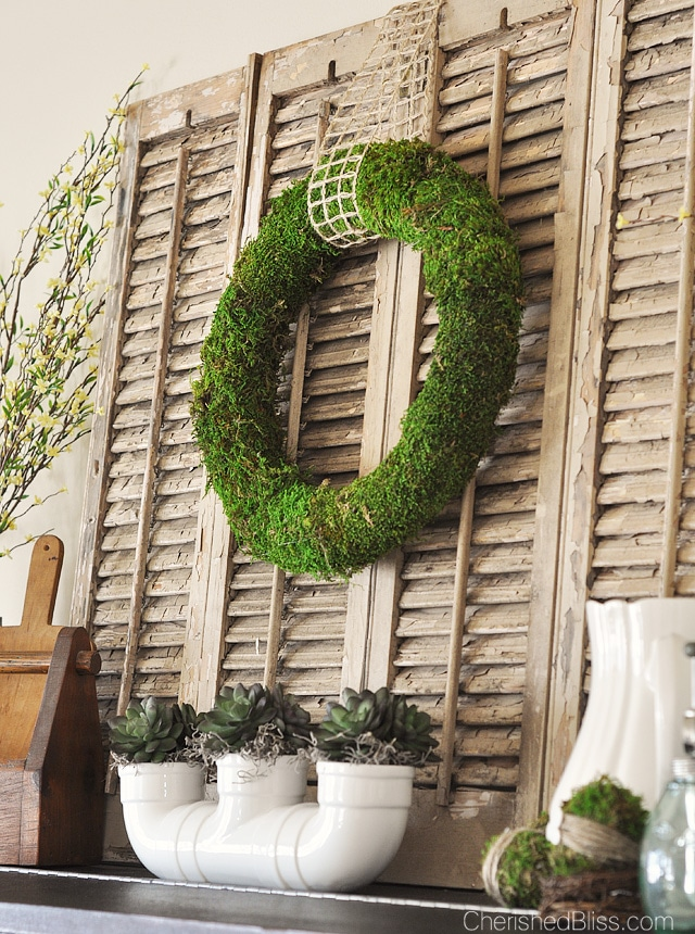 Vintage rustic Spring Mantel decorating ideas.